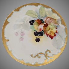 "J.H. Stouffer Co. H.P. Cake Plate with Blackberries and Variegated Leaves- artist signed ""S. Heap"""
