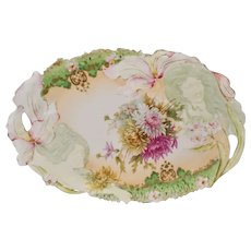 "R.S. Prussia 11"" Double Hidden Image Dresser Tray with Green Band"