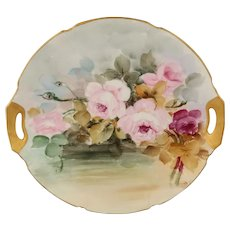"""Hand Painted 9 ¾"""" Cake Plate with Pink & Red Roses"""