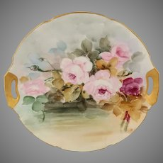 "Hand Painted 9 ¾"" Cake Plate with Pink & Red Roses"