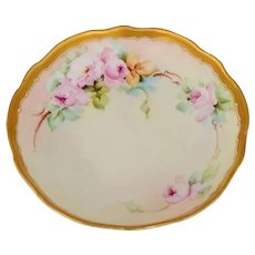 "Pickard H.P. 3-Footed Dish with Pink Roses- artist signed ""R. Alex"""