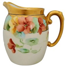 "Pickard H.P. Pitcher with Nasturtiums & Gold- artist signed ""Marker"""