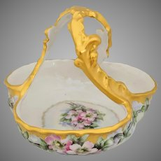 Nevins Studio/Limoges H.P. Twisted Gold Handle Basket with Pink Wild Roses