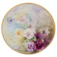 """E. Louise Jenkins (Limoges) H.P. Cake Plate with Pansies- signed """"E.L. Jenkins"""""""