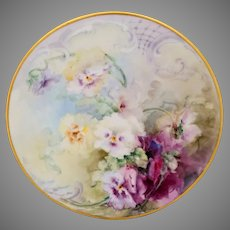"E. Louise Jenkins (Limoges) H.P. Cake Plate with Pansies- signed ""E.L. Jenkins"""