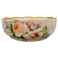 """Ester Miler H.P. Limoges Peach/Pink Roses Serving Bowl- signed """"E. Miler"""""""