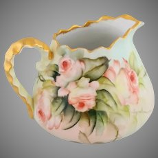 "Ester Miler H.P. Limoges Pitcher with Peach/Pink Roses- signed ""E. Miler"""