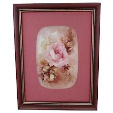 "Hand Painted Porcelain Framed Plaque with Pink Rose- signed ""B. Poellet"""