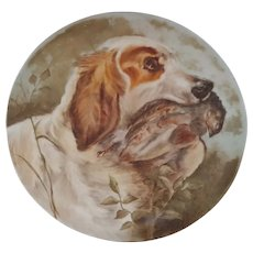 """Hand Painted 14.5"""" Charger with English Setter Hunting Dog- signed and dated 1909"""