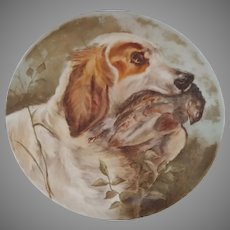 "Hand Painted 14.5"" Charger with English Setter Hunting Dog- signed and dated 1909"