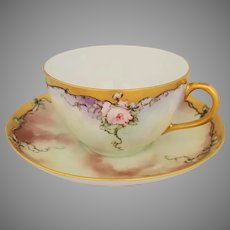 Haviland France H.P. Cup & Saucer with Pink Roses- artist signed