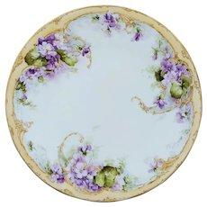"""George Leykauf H.P.  9 ¼"""" Limoges Violet Clusters Cake Plate- signed """"G. Leykauf 1908"""""""