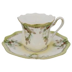 R.S. Prussia Holly & Berry w/ White Christmas Rose Demitasse Cup & Saucer