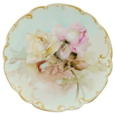 """Franz Bischoff H.P. Limoges Pink & White Naturalistic Rose Cake Plate- signed """"F.A. Bischoff"""""""