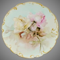 "Franz Bischoff H.P. Limoges Pink & White Naturalistic Rose Cake Plate- signed ""F.A. Bischoff"""