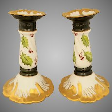 "Limoges H.P. Christmas Holly and Berry Candlestick Holders- Deep Green w/ Gold- signed- ""Inderhees"""