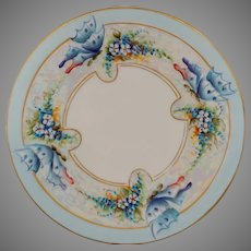 "Limoges H.P. 8.5"" Forget-Me-Nots with Butterflies Cake Plate- signed ""Endten"""