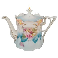 R.S. Prussia Lily Mold Tea Pot with Roses
