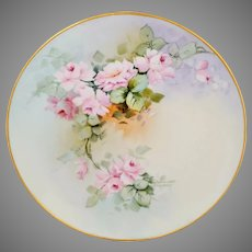 "Bavarian H.P. 9.75"" Cake Plate with Pink Roses- signed ""Thompson"""