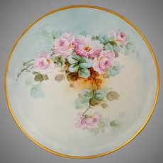 "Limoges H.P. 12 ½"" Pink Roses w/Light Blue & Gold Charger by artist ""Kimmel"""