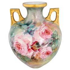 """Hand Painted 10.25"""" Handled Vase with Pink Roses"""