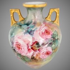 "Hand Painted 10.25"" Handled Vase with Pink Roses"