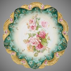 "R.S. Prussia 10.25"" Pink & Red Roses w/ Teal Bowl- Scalloped Gold Rim with Roses"