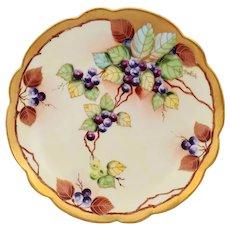 "Pickard H.P. 8.25"" Pastel Grape Bunch Cake Plate- signed ""Beutlich"""