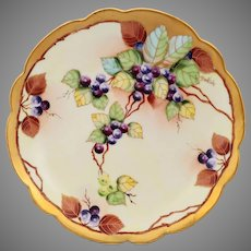 "Pickard H.P. 8.25"" Pastel Grape Bunch Cake Plate- signed ""Beutlich"""