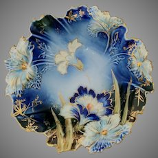 R.S. Prussia Carnation Mold Cobalt Three-Footed Bowl