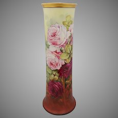 "Edward Heyn H.P. 14 ½"" Vase with Pink and Red Roses- signed ""Ed. Heyn"""