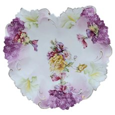 """R.S. Prussia 10.75"""" Heart Shape Mold Bowl With Roses & Purple"""