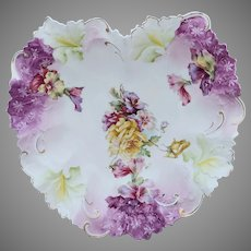 "R.S. Prussia 10.75"" Heart Shape Mold Bowl With Roses & Purple"