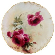 """Emil Aulich H.P. Limoges Cake Plate with Red Roses- artist signed """"E. Aulich"""""""