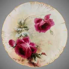"Emil Aulich H.P. Limoges Cake Plate with Red Roses- artist signed ""E. Aulich"""