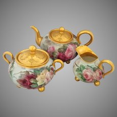 Limoges H.P. Red, Pink & Yellow Roses Footed 3-Piece Tea Set