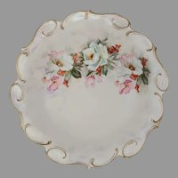 "R.S. Prussia 10.75"" Christmas Rose with Holly and Berries Bowl- Pearlized Finish"