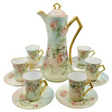 "Ester Miler H.P. Limoges Peach/Pink Roses Chocolate Set with 6 Cups & Saucers- signed ""E. Miler"""