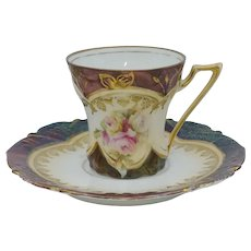 R.S. Prussia Tiffany Finish Demitasse Cup & Saucer with Roses