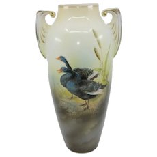 "R.S. Poland 10.5"" Vase with Black Geese"