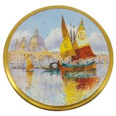 Pickard H.P. Venice Fishing Boats & Church of Santa Maria della Salute Tea Tile- Arthur Comyn (A.C.)