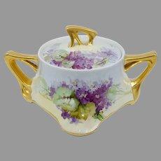 "Beatrice Carlsson H.P. Limoges Cracker Jar with Violets- artist signed ""Carlsson"""