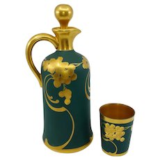 """Pickard Grapes In Gold On Green Matte Decanter with Cup- artist signed """"Coufall"""""""