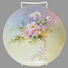 "Beatrice Carlsson H.P. 8 ¼"" Cake Plate with Pink Wild Roses- signed ""Carlsson"""