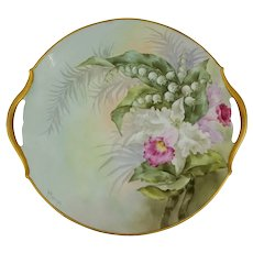 "Paul Putzki Limoges H.P. 10 ¾"" Cattleya Orchid Open Handled Cake Plate"