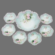 R.S. Prussia 7- Piece Berry Set with Pink Roses & Light Pink Trim