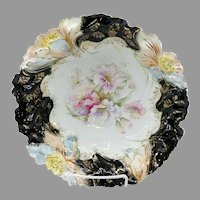 "R.S. Prussia 10 ½"" Bowl with Black Trim & Blown Out Florals"