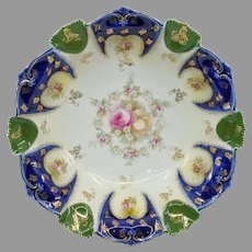 "R.S. Germany 11"" Bowl with Cobalt and Roses"