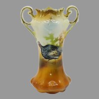 "R.S. Prussia 4.25"" Handled Turkey Vase with Brown Tones"
