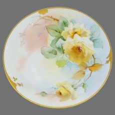 "Pickard H.P. 8 ¼"" Yellow Roses Cake Plate- signed ""GASPER"""